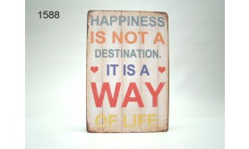 METAL SIGN HAPPINESS/20X30CM/35