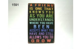 METAL SIGN A FRIEND/20X30CM/35