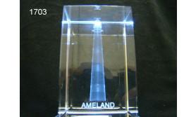 VUURTOREN AMELAND 3D GLASBLOKJE/115